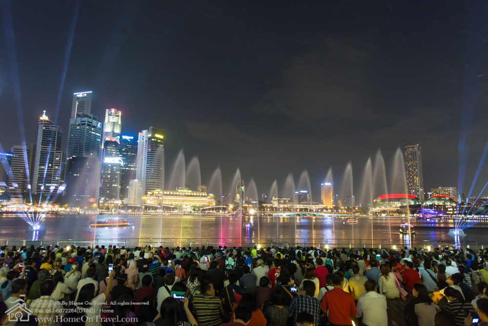 Home On Travel - Laser, light, water and sound show. Laser show is in front of Marina Bay Sands Hotel in evening.